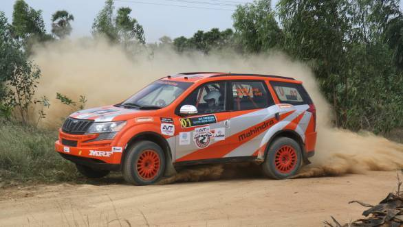 Here's Ghosh going sideways during SS3. Unfortunately SS5 saw him crash out of the rally