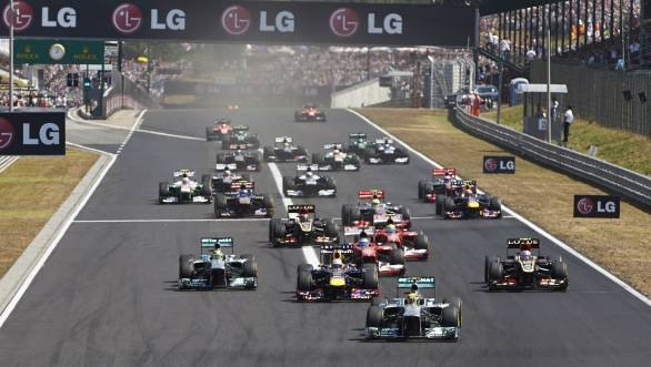 Lewis Hamilton leads the pack at the start of the 2013 Hungarian GP