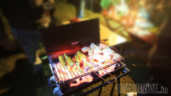 The barbeque was a source of delicious food as well as much appreciated warmth!