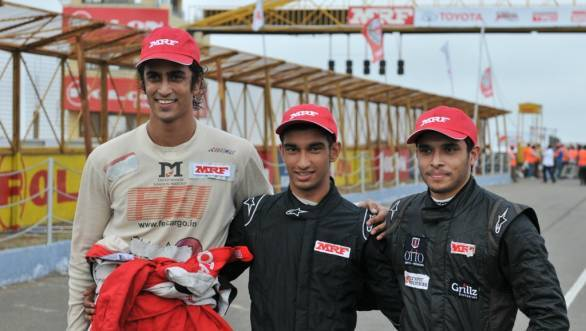 Advait Deodhar, Tarun Reddy and Vikash Anand who are currently at the top three contenders in the FF1600 class