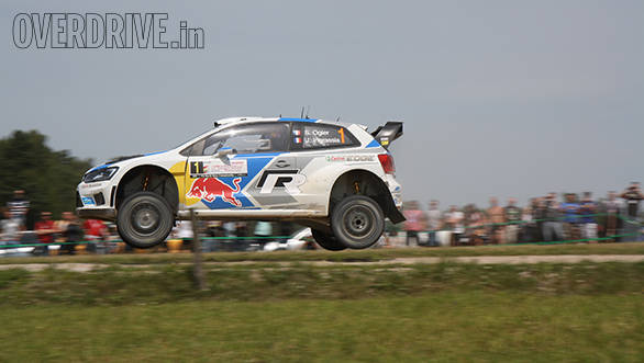Sebastien Ogier and Julien Ingrassia airborne in the Volkswagen Polo WRC on the Goldap stage at Rally Poland