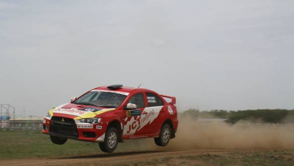 Samir Thapar airborne during SS4 of the South India Rally - he won all stages on Day 1