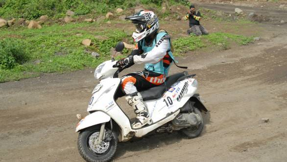 Overall winner in his second attempt at the rally - TVS Racing's R Nataraj astride his Wego