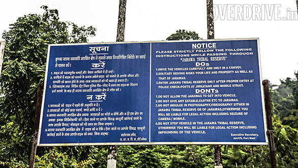 A signboard that warns travellers of the dos and don'ts within the Jarawa tribal regions
