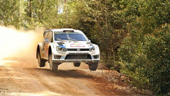 Sebastien Ogier and Julien Ingrassia yumping their way to victory at Rally Australia