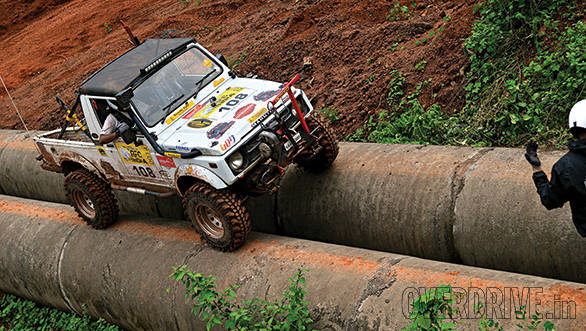 Driving on pipes - one of the more basic challenges during the initial stages of the RFC India, which prepared competitors for the challenges of the coming days