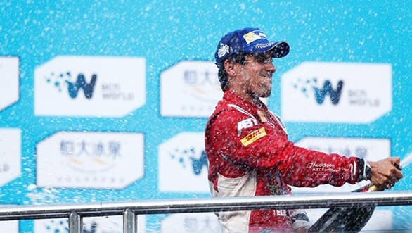 Lucas di Grassi celebrates after winning the first ever Formula E race at Beijing
