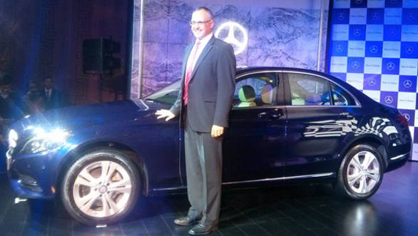 Mercedes Benz India CEO, Eberhard Kern, with the new W205 C-Class C200 during its launch in New Delhi