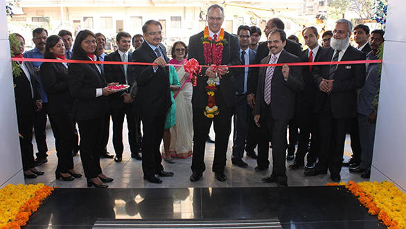 From L- R- Mr. Jatin Sheth_Chairman_Shaman Wheels, Mr.Eberhard Kern_MD and CEO_Mercedes-Benz India and Mr. Amar Sheth_Dealer Principal_Shaman Wheels at the Ribbon cutting