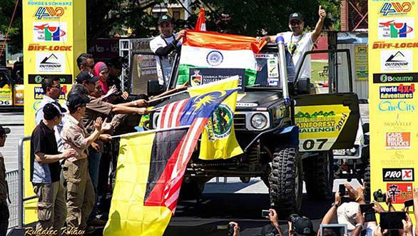 India's Kabir Waraich and Gurmeet Virdi during the flag-off ceremony