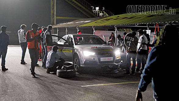 Driver changes, tyre changes, brake pad changes and refuelling all done nearly as well as Audi's Le Mans pit crew. We did say nearly