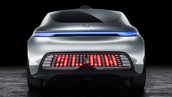 The tailgate features an LED display panel that reads out messages to warn the cars following the vehicle