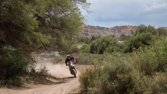 CS Santosh astride his KTM 450 Rally during the 2015 Dakar Rally