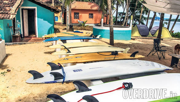 Surfboards resting after the morning session