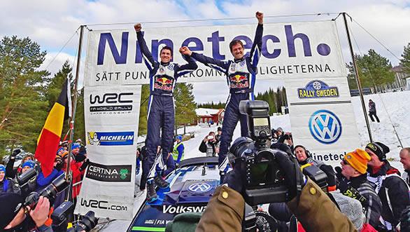 Winners Julien Ingrassia and Sebastien Ogier with the VW Polo R WRC Mk2