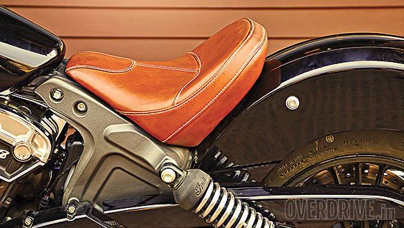 Lovely tan seat is comfy and supposedly designed after the original bike
