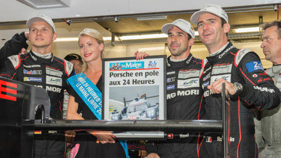 The No.18 Porsche 919 starts on pole at the 2015 24 Hours of Le Mans