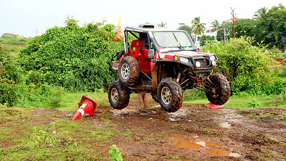 A Polaris vehicle in action on Day 1 of Force Gurkha RFC India 2015