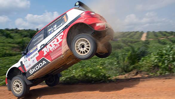 Gaurav Gill and Glenn Macneall catching some air i in MRF's Skoda Fabia S2000,