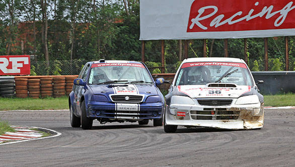 Bengaluru's Deepak Paul Chinnapa (No. 36) of Race Concepts team, battling Ashish Ramaswamy (Red Rooster Racing) on way to completing a double in the Indian Touring Cars class in the fifth and final round of the MMSC-Fmsci Indian National Racing Championship in Chennai on Sunday