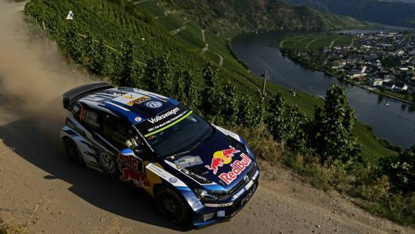 Ogier en route his victory at Rallye Deutschland ahead of his VW team-mates who locked out the podium