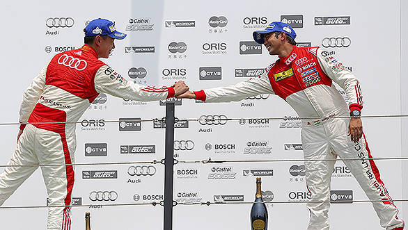 (L to R): Franky Cheng (CHN) FAW-VW Audi Racing Team and Aditya Patel (IND) Audi R8 LMS Cup Team celebrate on the podium at Audi R8 LMS Cup, Penbay International Circuit, Taiwan, 3-5 July 2015