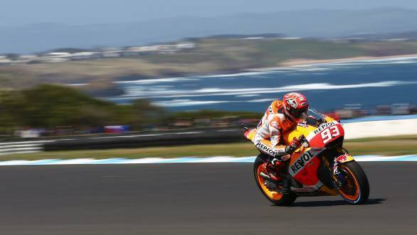 Marc Marquez en route his eighth pole of the 2015 season of MotoGP at Phillip Island