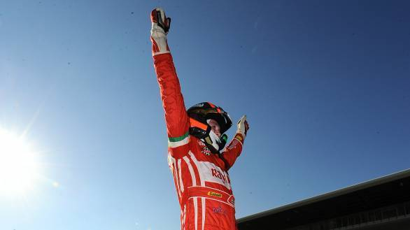 Singhania celebrates his second-place in the championship in the Ferrari Challenge Coppa Shell category