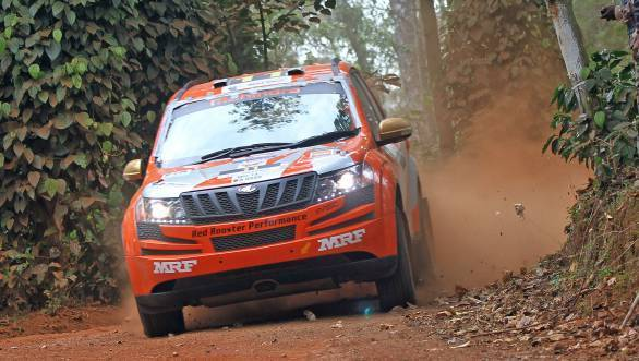 Gaurav Gill and co-driver Musa Sherif top the timing sheets at the end of the second day of the Coffee Day Rally at Chikmagalur