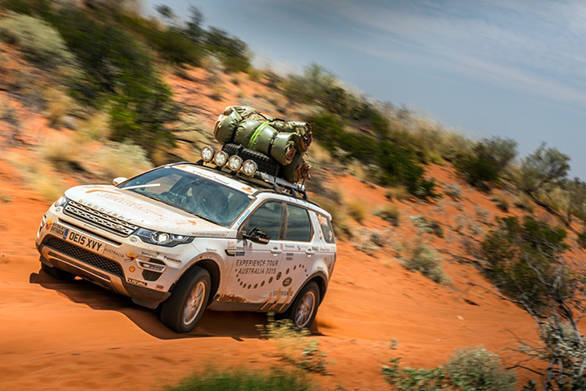 Note the tents or 'swags' strapped to the roof of the Land Rover Discovery Sport