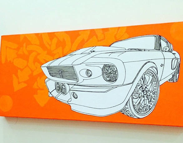 Artist Pratik Sharma's brillaint painting of Eleanor. the Ford Mustang that starred in the Hollywood film Gone in 60 Seconds