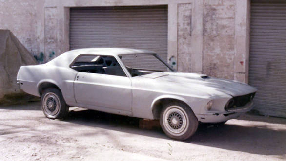 Manvendra Singhs 1969 Mustang Coupe that is presntly being restored by him and his son Siddhraj
