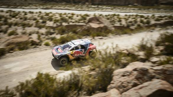 After four stages, Dakar novice Sebastien Loeb continues to lead the overall car category