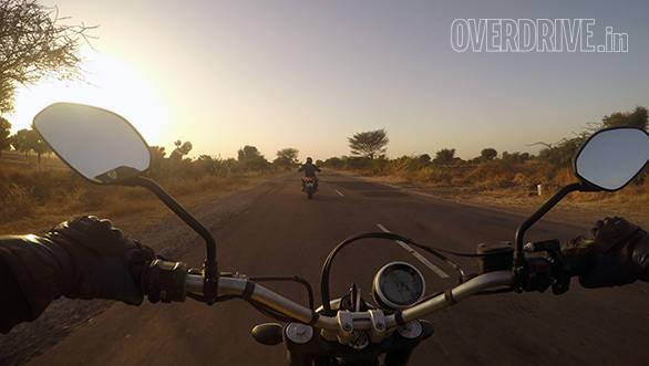 Ducati Scrambler on the road