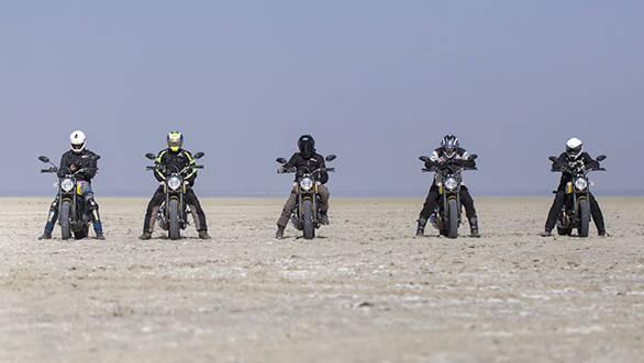 Ducati Scramblers on Sambhar Lake