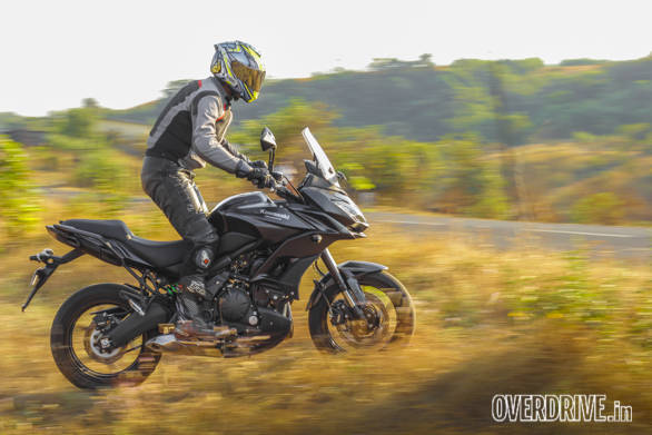 The Kawasaki Versys 650's ergonomics are just right to stand up and ride if you need to. But it's not off-roader. Keep to Tarmac or soft-roading and it proves to be a plush, rewarding motorcycle to ride relaxed or as hard as you like