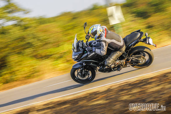 The Kawasaki Versys 650' seat height is 840mm and it has 170mm of ground clearance. That makes the sense of lean angles a bit exaggerated. But it's a competent cornering machine that is both stable and accurate while being nimble and responsive. Excellent suspension also means mid-corner bumps - I even hit potholes.- fail entirely to affect the motorcycle's poise