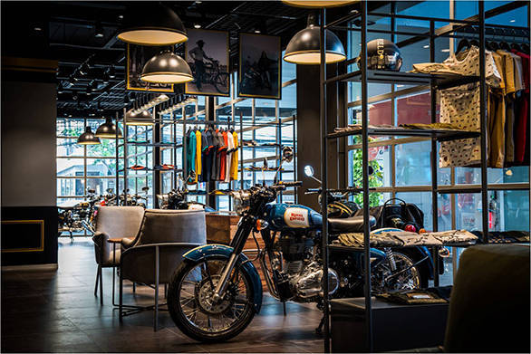 A Royal Enfield proudly stands at the new the company's new exclusive store in Bangkok launched today