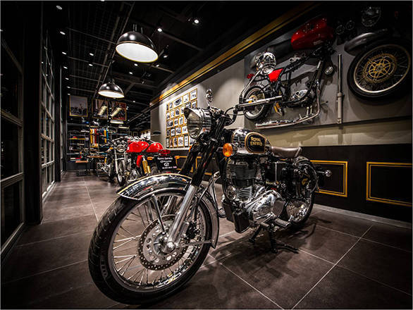 An inside view of the new Royal Enfield store in Bangkok
