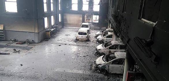 Burned automotive dealerships. Fire. Jat agitations
