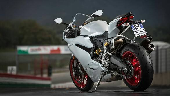 Ducati 959 Panigale static rear 3/4 white