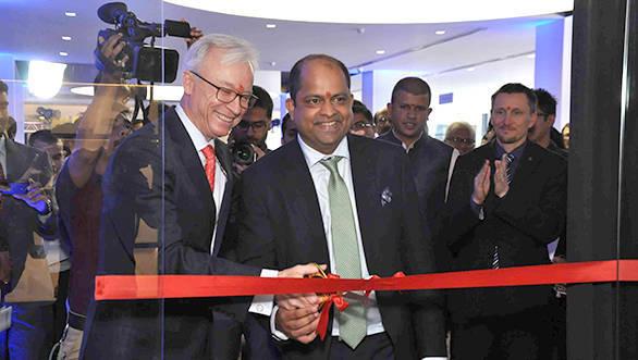 Roland Folger, MD CEO, Mercedes-Benz India with Gaurav Ghatge, executive director, Trinity Motors