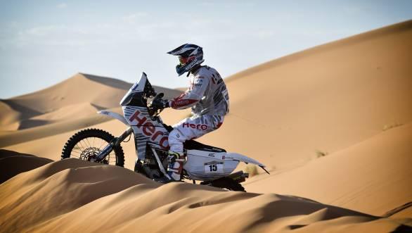CS Santosh astride his Speedbrain 450 Rally tackling the dunes at the Merzouga Rally