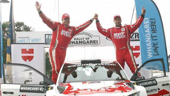 Gill and Macneall celebrate their win in New Zealand