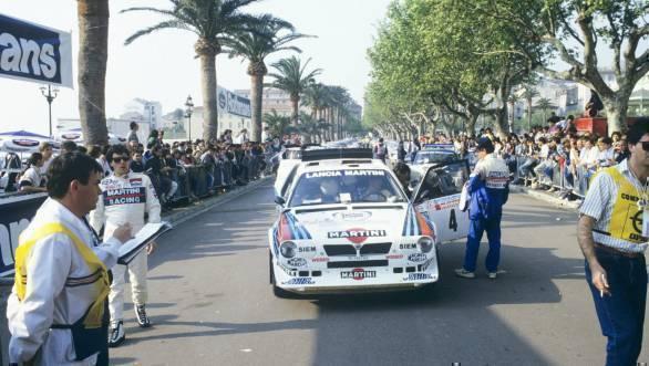 Sergio Cresto walks up to Parc Ferme to exit control at the 1986 Tour de Corse