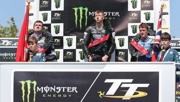 Here Ian Hutchinson is on the podium, flanked by Michael Dunlop and Dean Harrison. Dunlop, of course, was later stripped of his podium for a technical infringement
