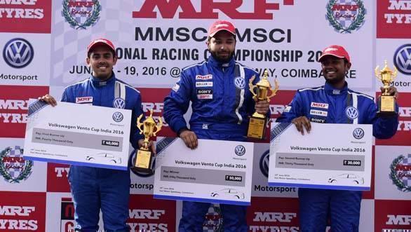 Race 2 winners: 1st Karminder Pal Singh, 2nd  Ishaan Dodhiwala and 3rd Aditya Pawar on the podium after Race 2