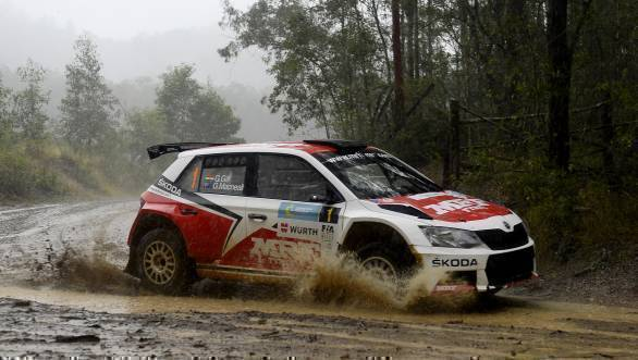 Gaurav Gill and co-driver Glenn Macneall their way to victory for Team MRF Skoda at the APRC Rally of Queensland