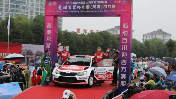 Pontus Tidemand, winner of the 2015 APRC Rally China on the podium at the event