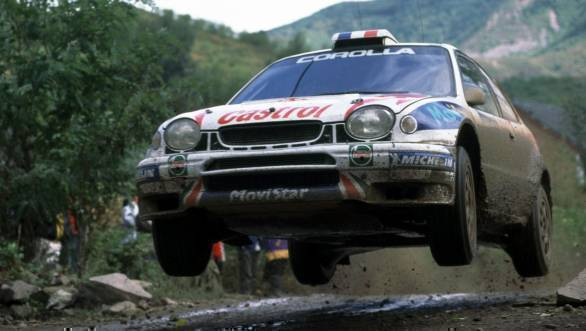 Didier Auriol and Denis Giraudet airborne in the Toyota Corolla WRC at the 1999 China Rally